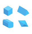 set four blue geometric figures color banner vector image vector image