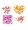 set of calligraphy text thank you for happy vector image vector image