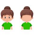 set of girl with brunette bun hair vector image vector image