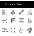 set school and science education line icons vector image vector image