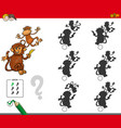 shadow activity game with cartoon monkeys vector image vector image