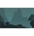 Silhouette of triceratops and spinosaurus vector image vector image
