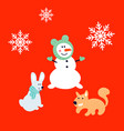 snowman bunny and squirrel cartoon card new year vector image vector image