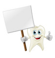 tooth man holding a sign vector image vector image