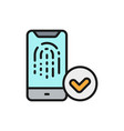 unlocking smartphone fingerprint finger print vector image vector image