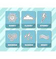 Weather forecast white icons in blue squares vector image