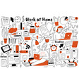 work at home doodle set vector image vector image
