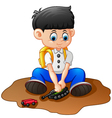 cartoon little boy playing tank vector image