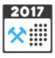 2017 calendar working day halftone icon vector image