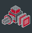 Abstract three-dimensional shape design cube vector image