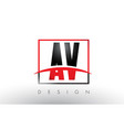 av a v logo letters with red and black colors and vector image vector image