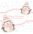 beautiful christmas winter card with penguins vector image