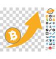 bitcoin grow up arrow icon with bonus vector image vector image