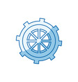 blue color shading silhouette gear wheel in shape vector image vector image