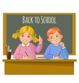 Boy and girl at the desk near blackboard vector image