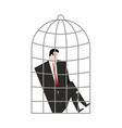 businessman in cage boss is trapped vector image