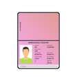 cartoon international male passport for tourism vector image vector image