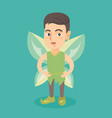 caucasian fairy boy with green butterfly wings vector image vector image