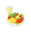 cheese and tomato slices salad avocado and vector image vector image
