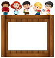 Children standing around the frame vector image