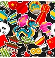 China seamless pattern Chinese sticker symbols vector image