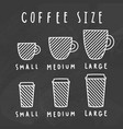 choose coffee size chalkboard style vector image vector image