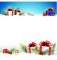christmas background with gifts and snow vector image vector image
