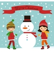Christmas card with kids and snowman vector image