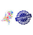 christmas sale collage of mosaic map of vector image vector image
