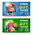 cinema gift voucher vector image