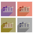 concept of flat icons with long shadow eco-city vector image vector image