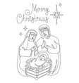 continuous line drawing the birth jesus vector image