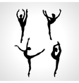 Creative silhouettes of 4 gymnastic girl Art vector image
