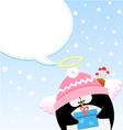 cupid penguin message vector image vector image