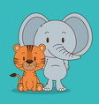 cute and little elephant and tiger characters vector image vector image