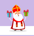 cute saint nicholas with two gifts vector image vector image