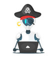 cyber pirate robot hacking someone vector image