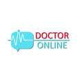 doctor online logo on white background neon vector image vector image