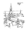 drawing sketch riga capital latvia vector image vector image