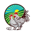 Farm emblem for organic production Label with Hen vector image vector image