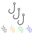fishing hooks icon vector image vector image