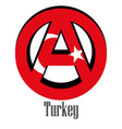 flag of turkey of the world in the form of a sign vector image vector image