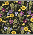 floral background with pansy flowers vector image