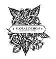 floral bouquet design with black and white roses vector image vector image