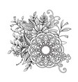 floral pattern in black and white vector image