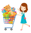 Girl pushing shopping cart full of gifts vector image