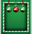 green christmas holiday frame and ornaments vector image vector image