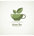 Green tea cup leaf design icon vector image vector image
