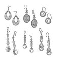 hand drawn earrings set - jewelry isolated vector image vector image