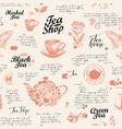 hand-drawn seamless pattern on theme tea vector image vector image
